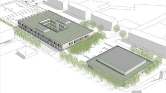 Vinzenz-Pallotti-Schule in Friedberg: Ersatzneubau mit Sporthalle (vorn) und Schulgebäude. Copyright: architektei mey gmbh, Frankfurt am Main