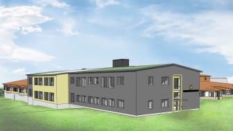Bild på hur Skattkärsskolan kan komma att se ut av Klara arkitekter