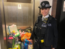PC Jarasiute with the donations