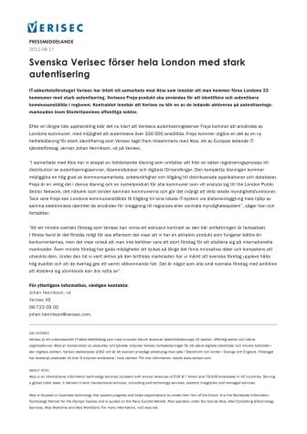 Svenska Verisec förser hela London med stark autentisering