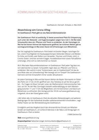 Abwechslung vom Corona-Alltag: Im Goetheanum-Park gibt es neu Naturerlebnisstationen