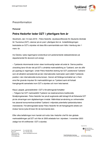Petra Hedorfer leder DZT i ytterligare fem år