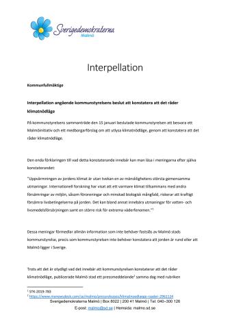 Interpellation om Malmö stads klimatnödläge