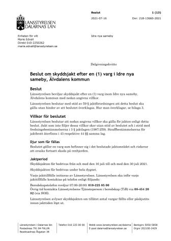 Beslut om skyddsjakt efter en (1) varg i Idre nya sameby.pdf