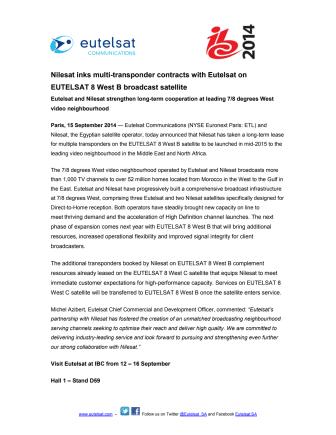 Nilesat inks multi-transponder contracts with Eutelsat on EUTELSAT 8 West B broadcast satellite