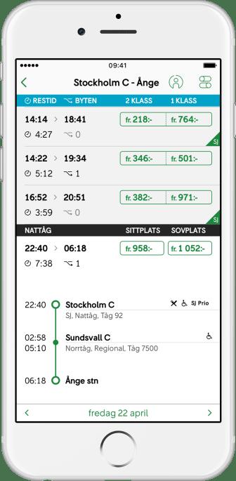 SJ App Nattåg 1