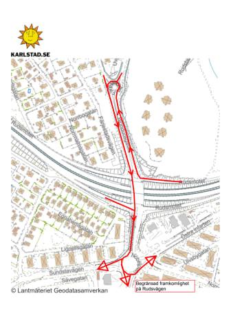 Trafikomledning_Rudsmotet_mot Sundsta Norrstrand Centrum