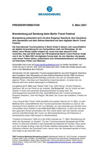 Brandenburg auf Sendung beim Berlin Travel Festival