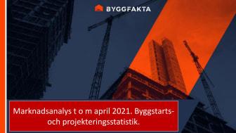 Byggprojektmarknaden t o m april 2021. Byggstarts- och projekteringsindex från Byggfakta.