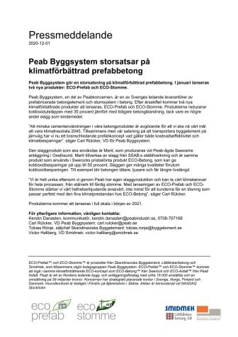Peab Byggsystem storsatsar på klimatförbättrad prefabbetong