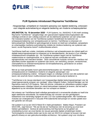 FLIR Systems introduceert Raymarine YachtSense