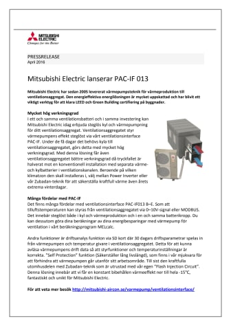Mitsubishi Electric lanserar PAC-IF 013