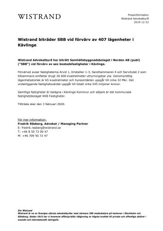 Wistrand biträder SBB vid förvärv av 407 lägenheter i Kävlinge
