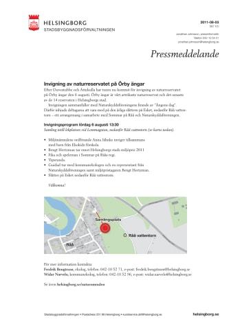 Invigning av naturreservatet på Örby ängar