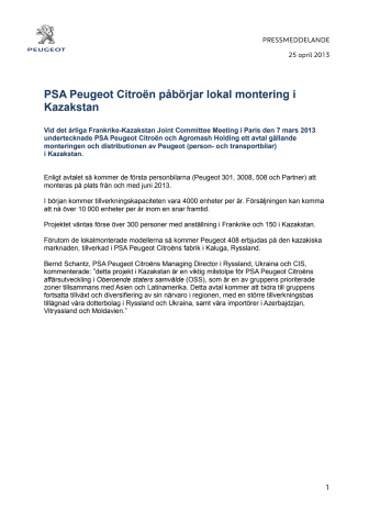 PSA Peugeot Citroën påbörjar lokal montering i Kazakstan