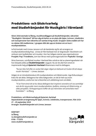 Produktions- och låtskrivarhelg  med Studiefrämjandet för Musikgäris i Värmland!