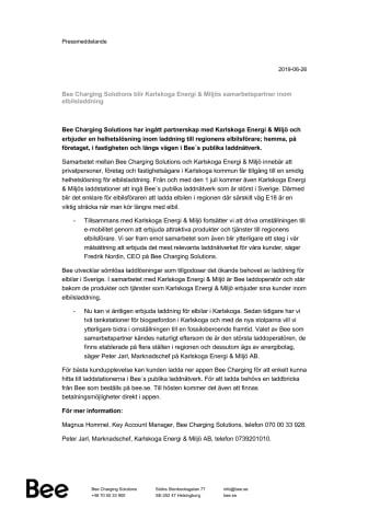 Bee Charging Solutions blir Karlskoga Energi & Miljös samarbetspartner inom elbilsladdning