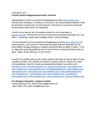 ComeOn lanserar flaggskeppsvarumärke i Danmark