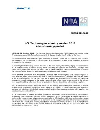 HCL Technologies nimetty vuoden 2012 ulkoistuskumppaniksi