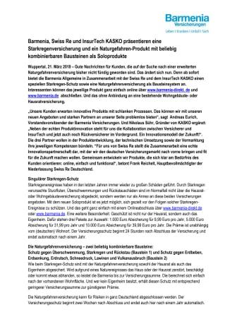 Barmenia, Swiss Re und InsurTech KASKO präsentieren eine Starkregenversicherung und ein Naturgefahren-Produkt mit beliebig kombinierbaren Bausteinen als Soloprodukte