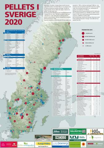 Bioenergis karta: Pellets i Sverige 2020