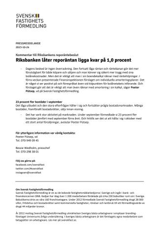 Kommentar till Riksbankens reporäntebeslut: Riksbanken låter reporäntan ligga kvar på 1,0 procent