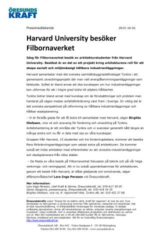 Harvard University besöker Filbornaverket