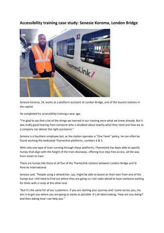 Senesie Koroma - London Bridge accessibility training