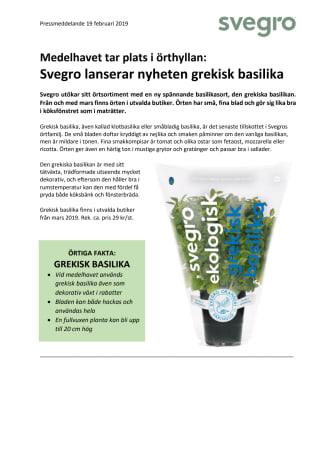 Medelhavet tar plats i örthyllan: Svegro lanserar nyheten grekisk basilika