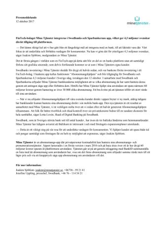 Swedbank integrerar FinTech-bolaget Mina Tjänster i sin app