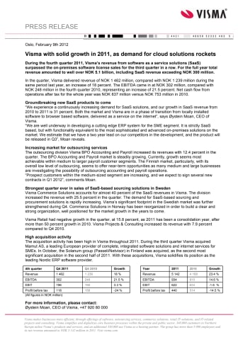 Press release in English on Visma 2011