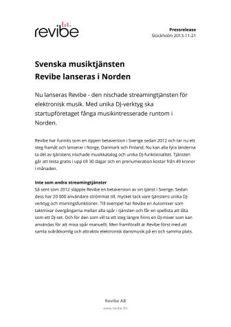 Svenska musiktjänsten Revibe lanseras i Norden