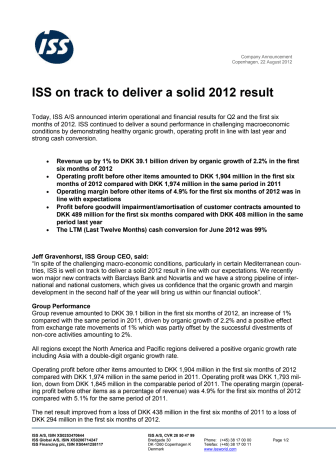 ISS on track to deliver a solid 2012 result