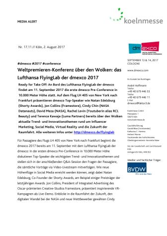 Weltpremieren-Konferenz über den Wolken: das Lufthansa FlyingLab der dmexco 2017