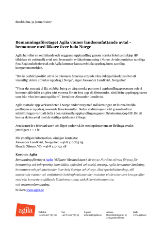 Bemanningsföretaget Agila vinner landsomfattande avtal - bemannar med läkare över hela Norge