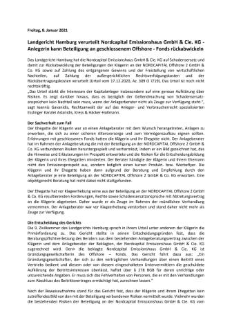 Landgericht Hamburg verurteilt Nordcapital Emissionshaus GmbH & Cie. KG - Anlegerin kann Beteiligung an geschlossenem Offshore - Fonds rückabwickeln
