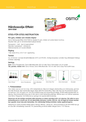 Steg för steg instruktion Osmo 3044 RAW