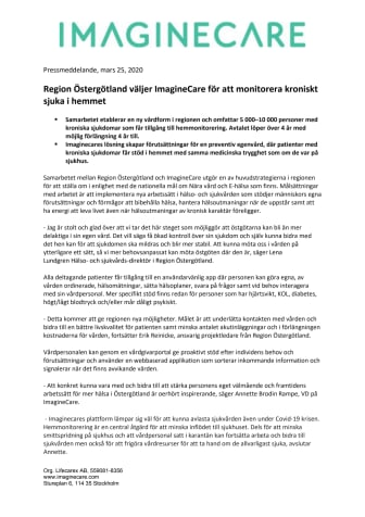 Region Östergötland väljer ImagineCare för att monitorera kroniskt sjuka i hemmet