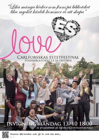 Affisch LovES – Carlforsskas Estetfestival på Västerås stadsbibliotek 13–16 oktober 2014