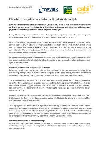EU-midler til nordjyske virksomheder skal få psykiske sårbare i job