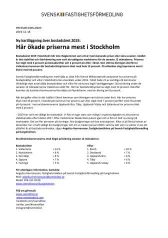 Ny kartläggning över bostadsåret 2019: Här ökade priserna mest i Stockholm