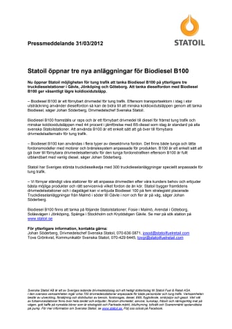 Statoil öppnar tre nya anläggningar för Biodiesel B100