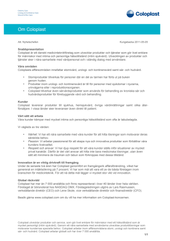 Bakgrundsinformation - Om Coloplast
