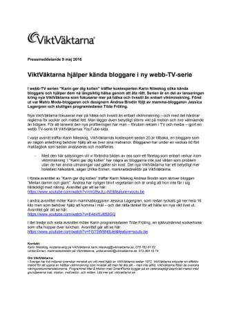 ViktVäktarna hjälper kända bloggare i ny webb-TV-serie