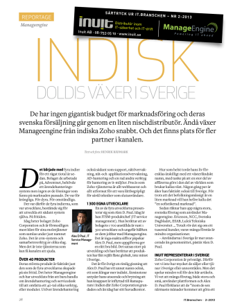 Reportage i IT.Branschen - Indisk doldis (ManageEngine) växer i Sverige