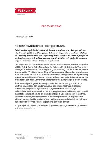 FlexLink huvudsponsor i Barngolfen 2017