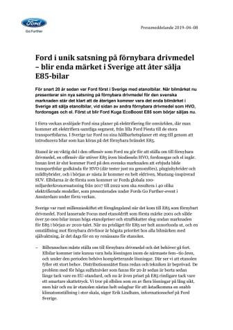 Ford i unik satsning på förnybara drivmedel – blir enda märket i Sverige att åter sälja E85-bilar