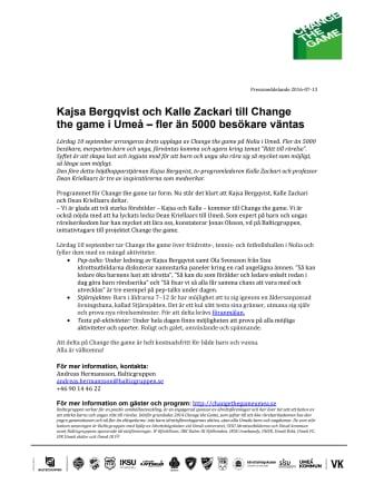 Kajsa Bergqvist och Kalle Zackari till Change the game i Umeå – fler än 5000 besökare väntas