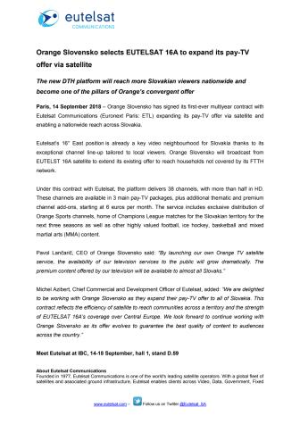 Orange Slovensko selects EUTELSAT 16A to expand its pay-TV offer via satellite