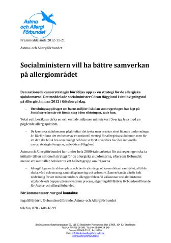 Socialministern vill ha bättre samverkan på allergiområdet